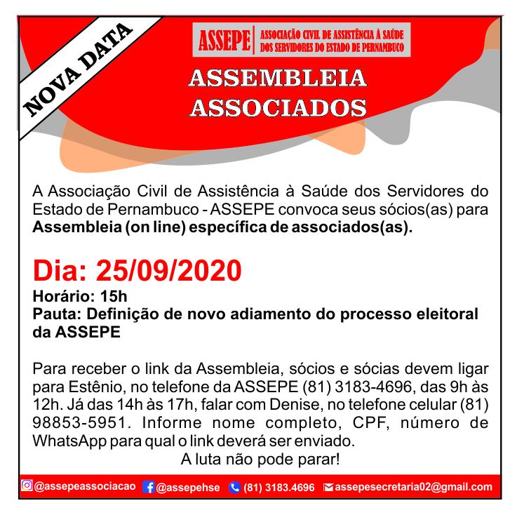 ASSEPE convoca Assembleia (on line)