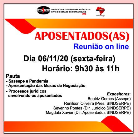 On line - Aposentados(as) do SINDSERPE se reúnem nesta sexta (06/11)